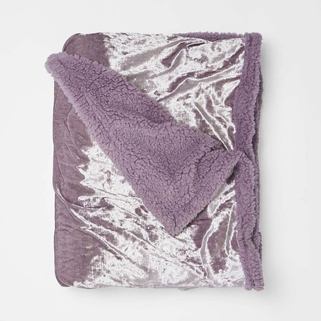Crushed velvet sherpa throw blanket pink velvet throw