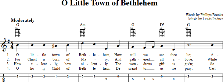 O Little Town Of Bethlehem Sheet Music For Mandolin With Chords