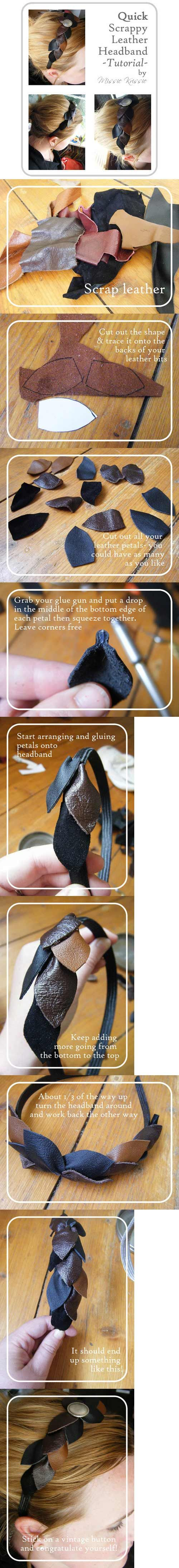 DIY leather head band! I would make one from old leather bags found at a second hand store.