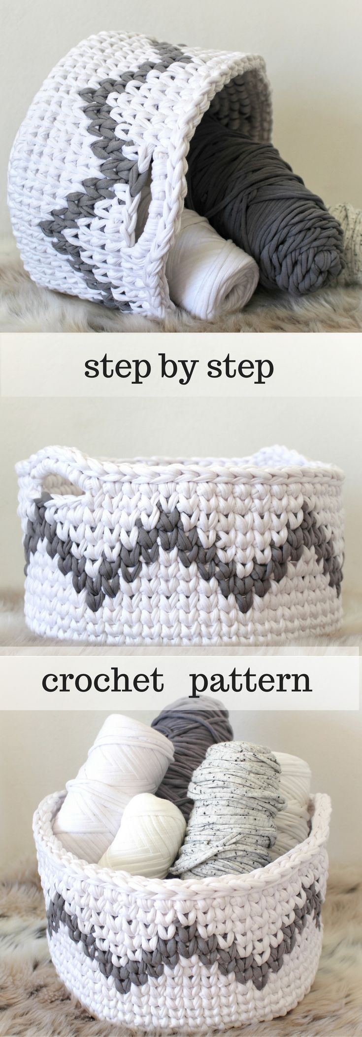 Crochet Basket Pattern for Chevron Home Decor! Zig Zag baskets are ...