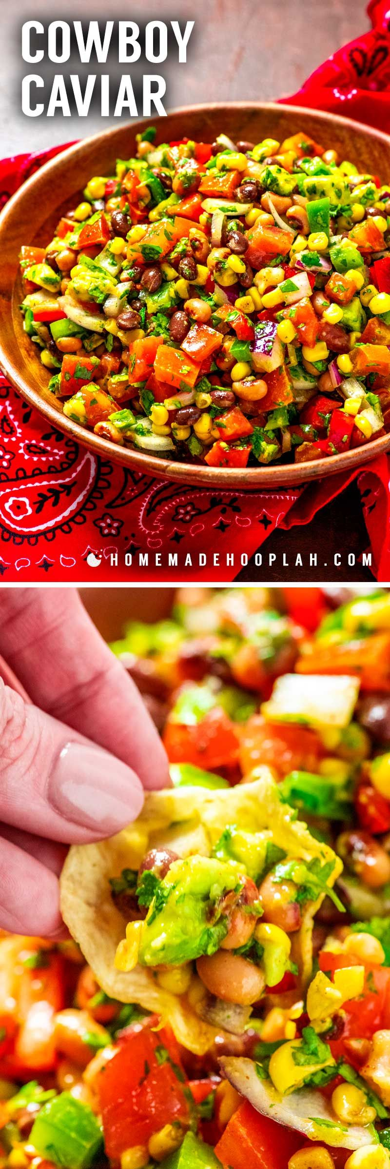Cowboy Caviar! Loaded with fresh veggies and topped with a tasty vinaigrette, this colorful cowboy caviar (also called Texas caviar) is the summer salsa that packs some heat! | HomemadeHooplah.com #cowboycaviar