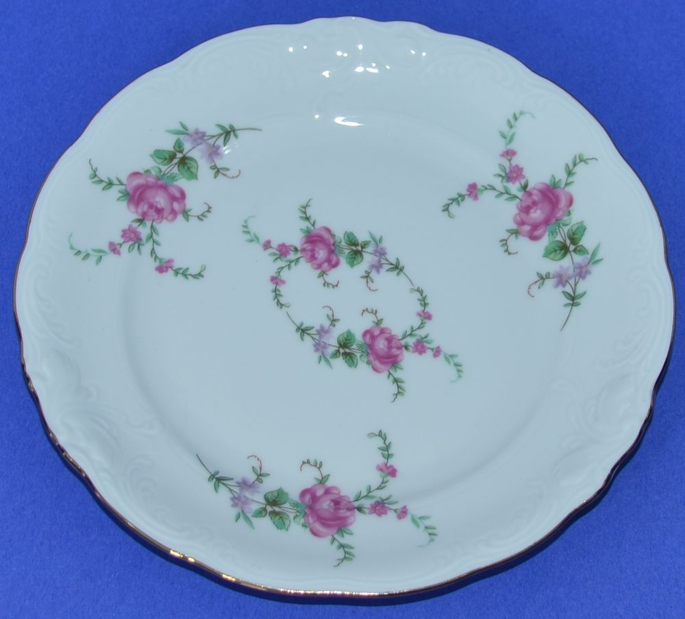 "$7.10. Royal Kent, Poland Bavarian Rose China 6 1/2"" Plate Bread"