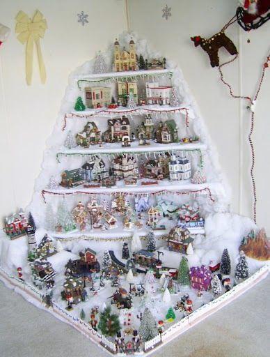 Christmas Village Corner Shelf Display Christmas Village