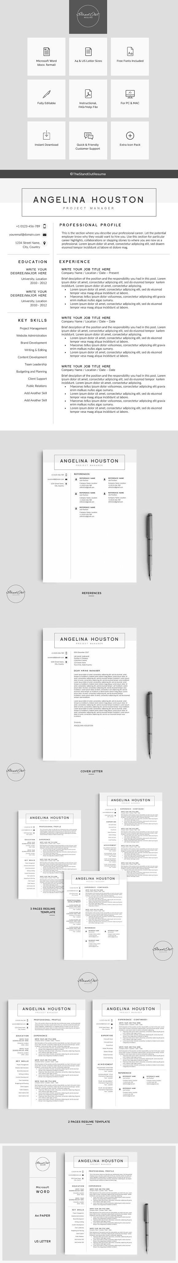 Resume/CV Template ANGELINA Cv template, Simple resume