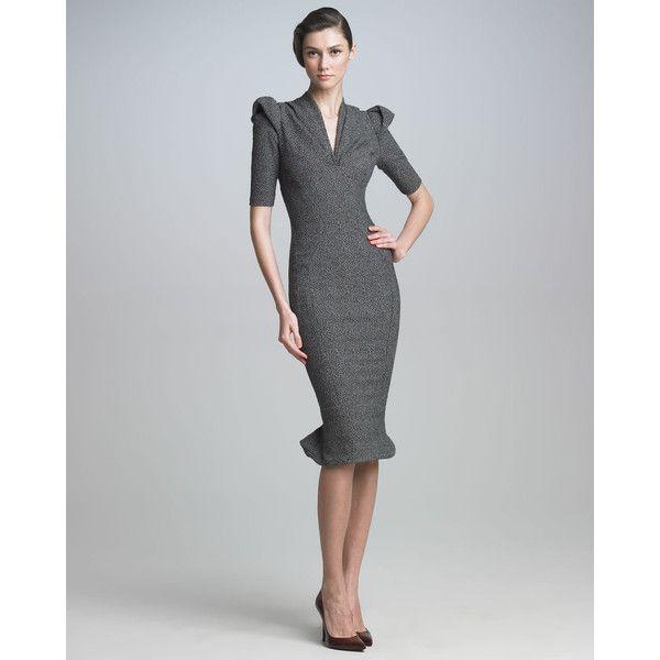 $2380 Women's Zac Posen Sculpted Tweed Dress found on Polyvore