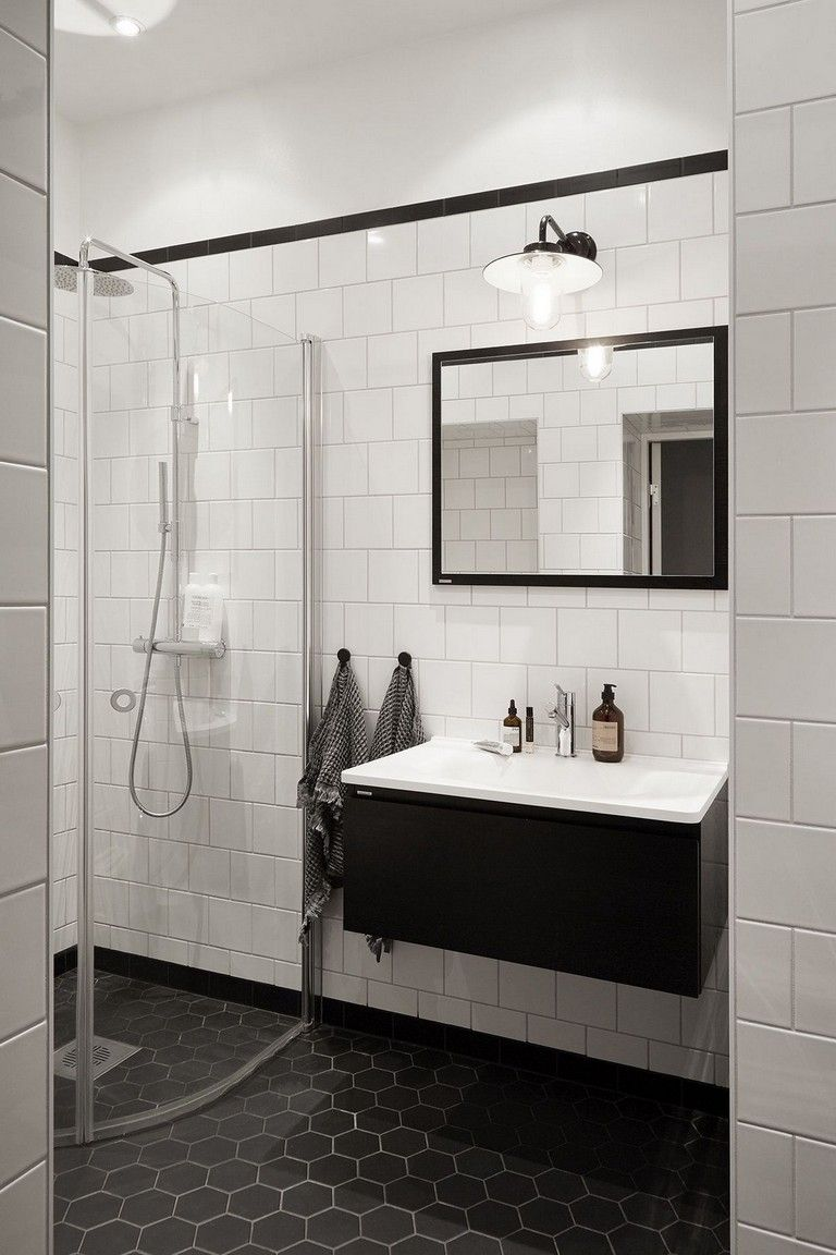 50 Stunning Black And White Subway Tiles Bathroom Design White Bathroom Tiles Black Bathroom Bathroom Tile Designs