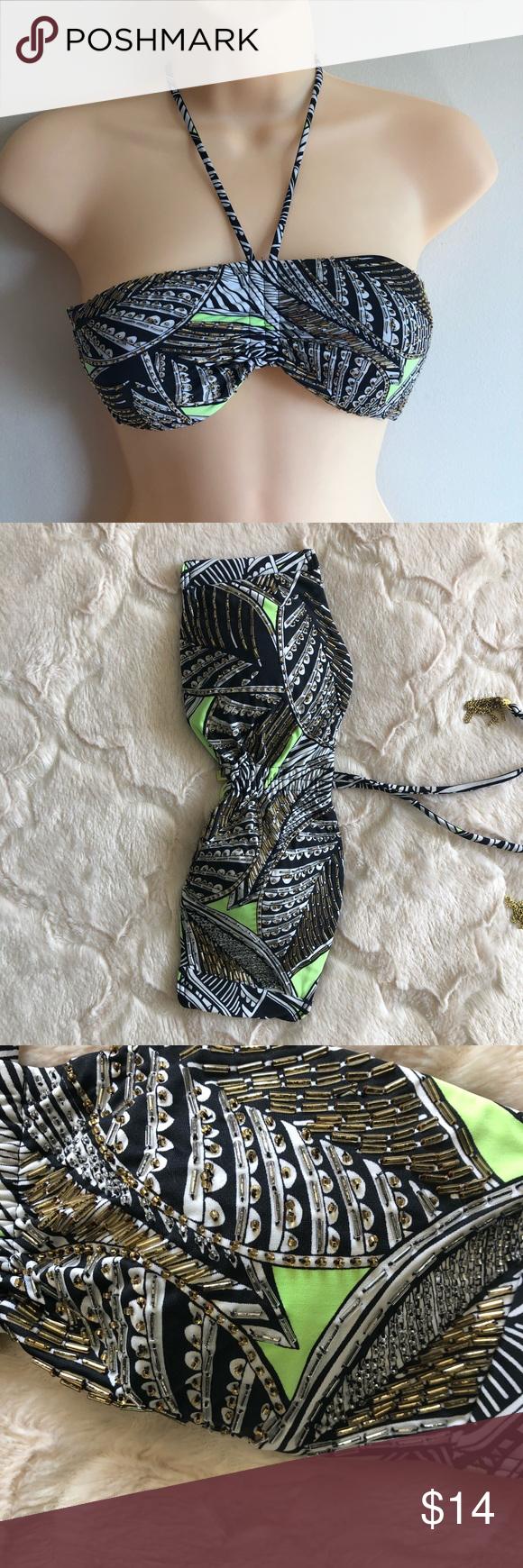 VS Swim | Beaded Bikini Top Tribal print beaded swim top from VS. Metal tassels on the top and VS hook in the back  0706 Victoria's Secret Swim Bikinis