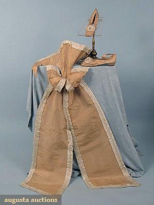 FRENCH 5 PIECE SILK DRESS ENSEMBLE, 1860s