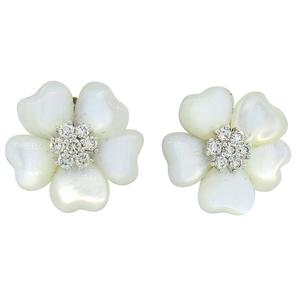 Adorable Mother Of Pearl Diamond Flower Gold Earrings From A Unique Collection Vintage More