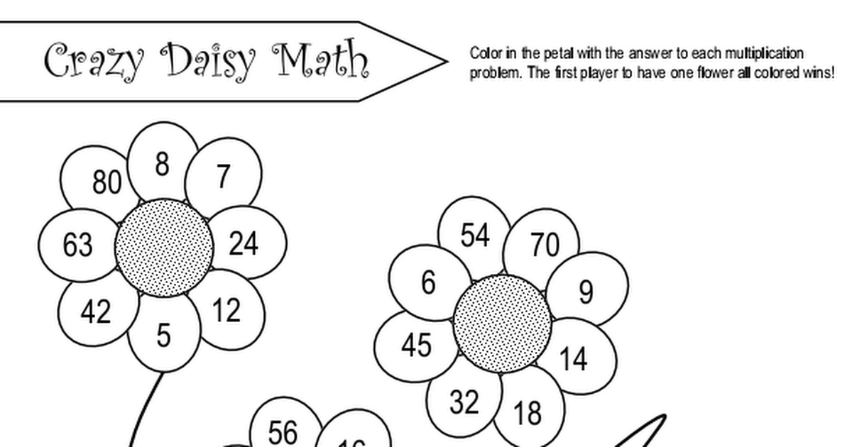 Crazy Daisy Math Game Boards.pdf Math games, Printable