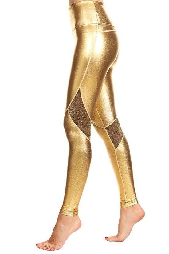393de4c591e49 Glitter Mesh + Metallic Gold Workout Leggings | Ladies Activewear ...
