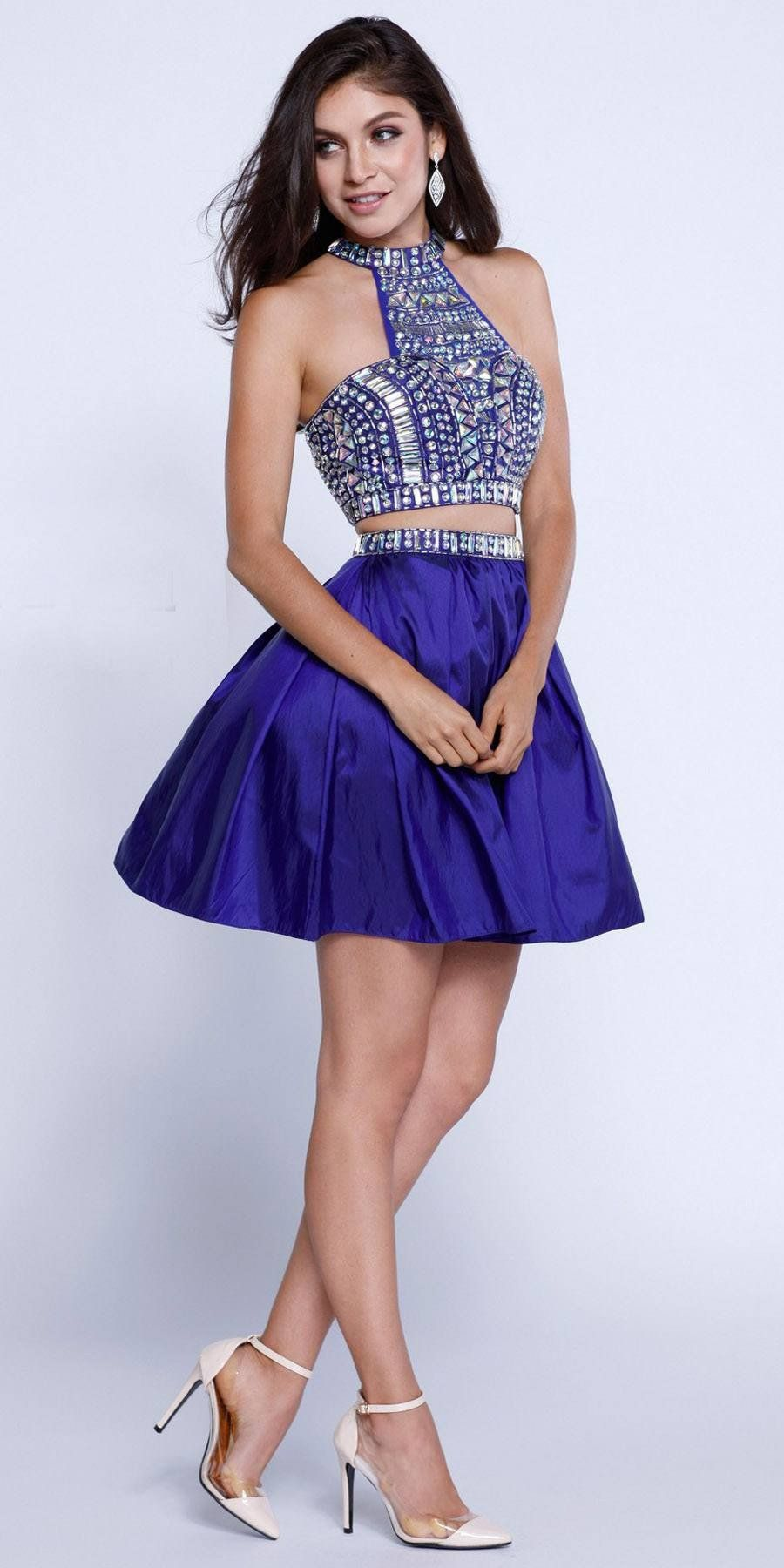 Two-Piece Prom Dress Short Beaded Top Grecian Neckline Red | Beaded ...