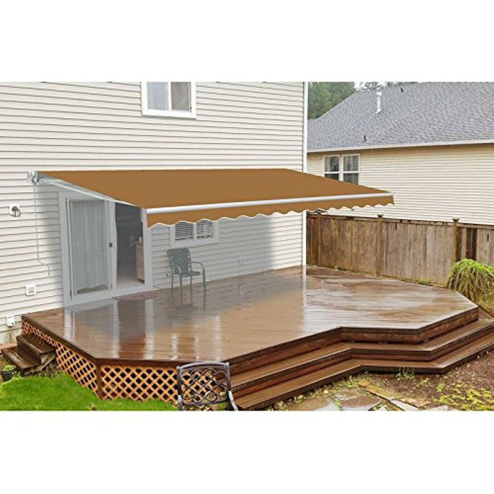 Aleko 12 Ft Manual Patio Retractable Awning 120 In Projection In Sand Aw12x10sand31 Hd Patio Canopy Patio Flooring Retractable Awning
