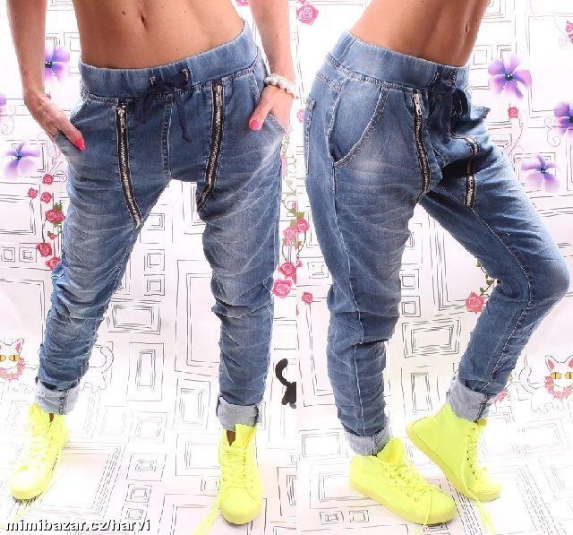 8223adcddd Luxusní buggy rifle jeans riflové haremy zipy Kalhoty