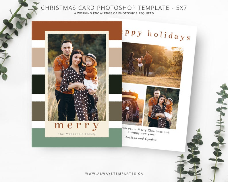 Photo Christmas Card Template Christmas Card Template Etsy Christmas Photo Cards Christmas Photo Card Template Christmas Card Template