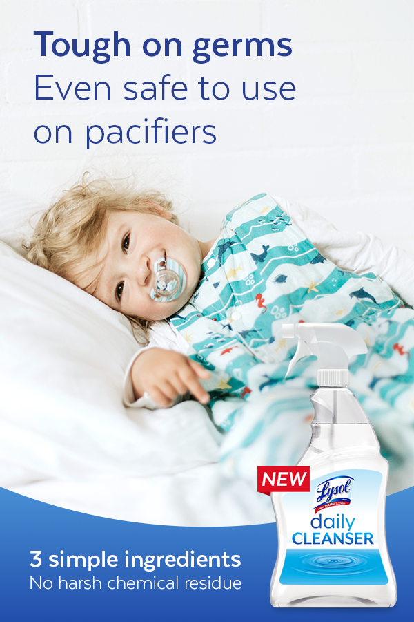 Getting rid of germs is just as important as leaving no harsh chemical residue behind. Lysol Daily Cleanser is made with 3 simple ingredients and is even safe to use on toys, high chairs, and pacifiers.