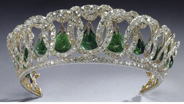 emerald diamond tiara, also has pearl dangles or can be worn without dangles. From the Russians, now used by QEII