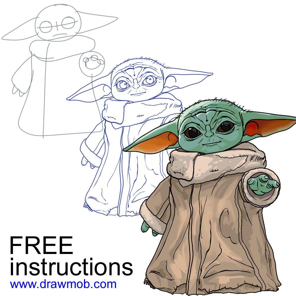 Easy Draw Baby Yoda Step By Step Star Wars Drawings Yoda Drawing Yoda Art