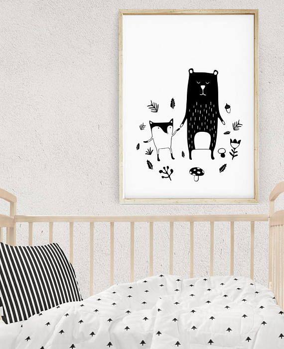 Favourite Scandinavian Nursery Kids Room Decor Items: Woodland Creatures Art, Kids Room Decor, Animal Prints