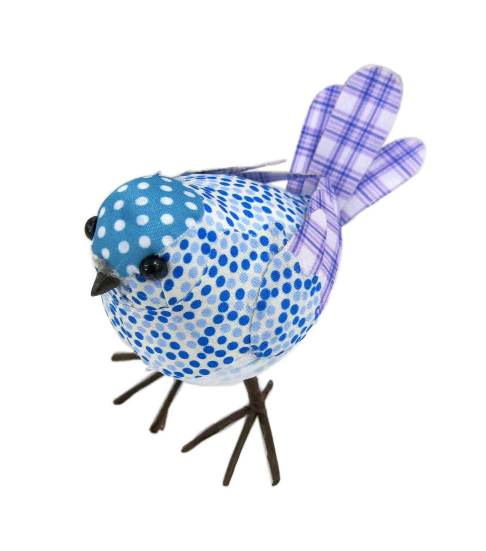 Blue Dot Pattern Bird Décor