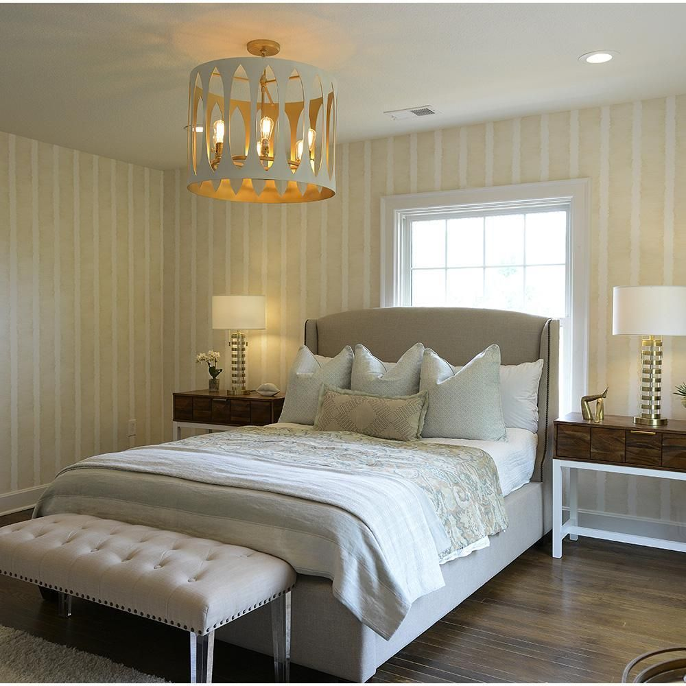 inspiring mid century hanging light bedroom | Maddox 6 Light Pendant - Ivory and Gold in 2019 | BEDROOMS ...