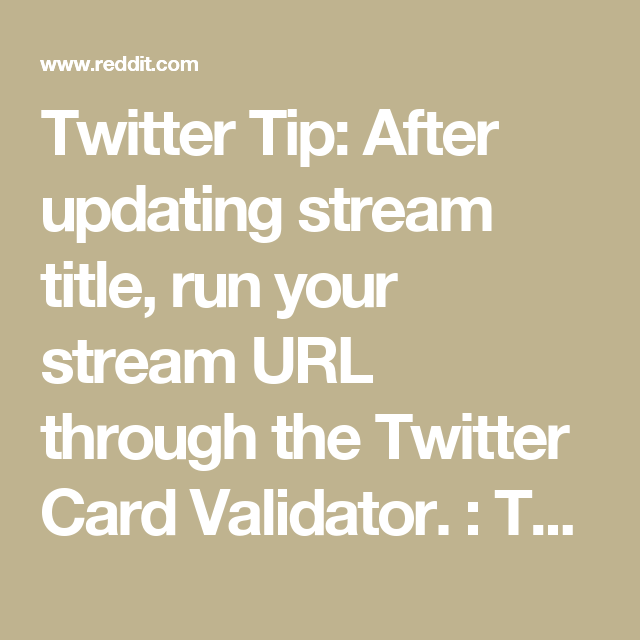 twitter tip after updating stream title run your stream url