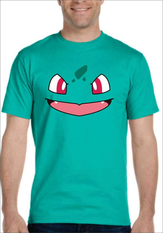 e585e35d Inspired by Bulbasaur face Pokemon T-shirt Men's Women's kids ...