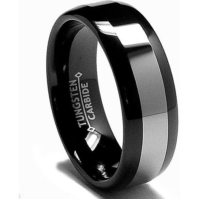 Mens Black Plated Tungsten Carbide Comfort Fit Band 8 Mm