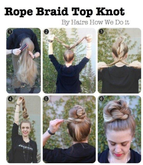 High Bun Updos Tutorials: Seilgeflecht mit Knoten - haare schneiden haare flechten #bunupdo