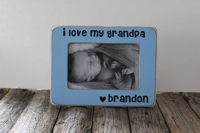 I Love You Grandpa Picture Frame, Grandpa Gift, Rustic Picture Frame ...
