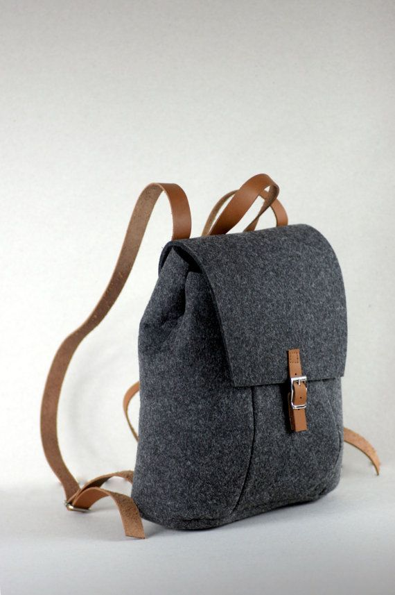 FELT LEATHER RUCKSACK bag backpack by FUTERAL on Etsy  5a4c9e007a06e