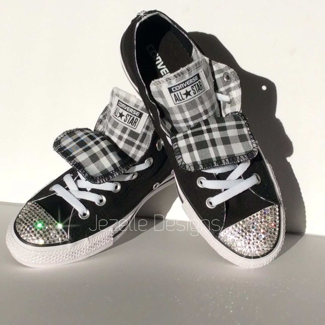 Bling Converse Sneakers | Checkerboard | Double Tongue with