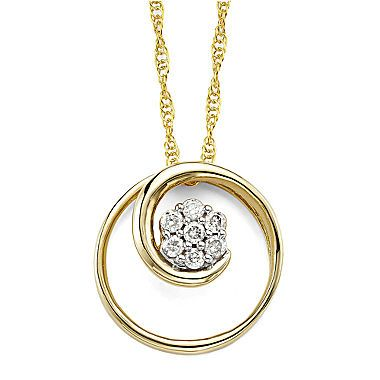 Fine Jewelry diamond blossom 1/6 CT. T.W. Diamond 10K Rose Gold Swirl Pendant Necklace dm2xx