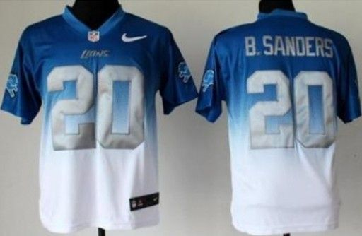 Nike Detroit Lions 20 Barry Sanders Blue White Drift Fashion II Elite NFL  Jerseys aea0fe461