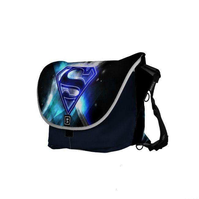 Stylized  Blue White Crystal Logo Messenger Bag ,Superman Stylized  Blue White Crystal Logo Messeng