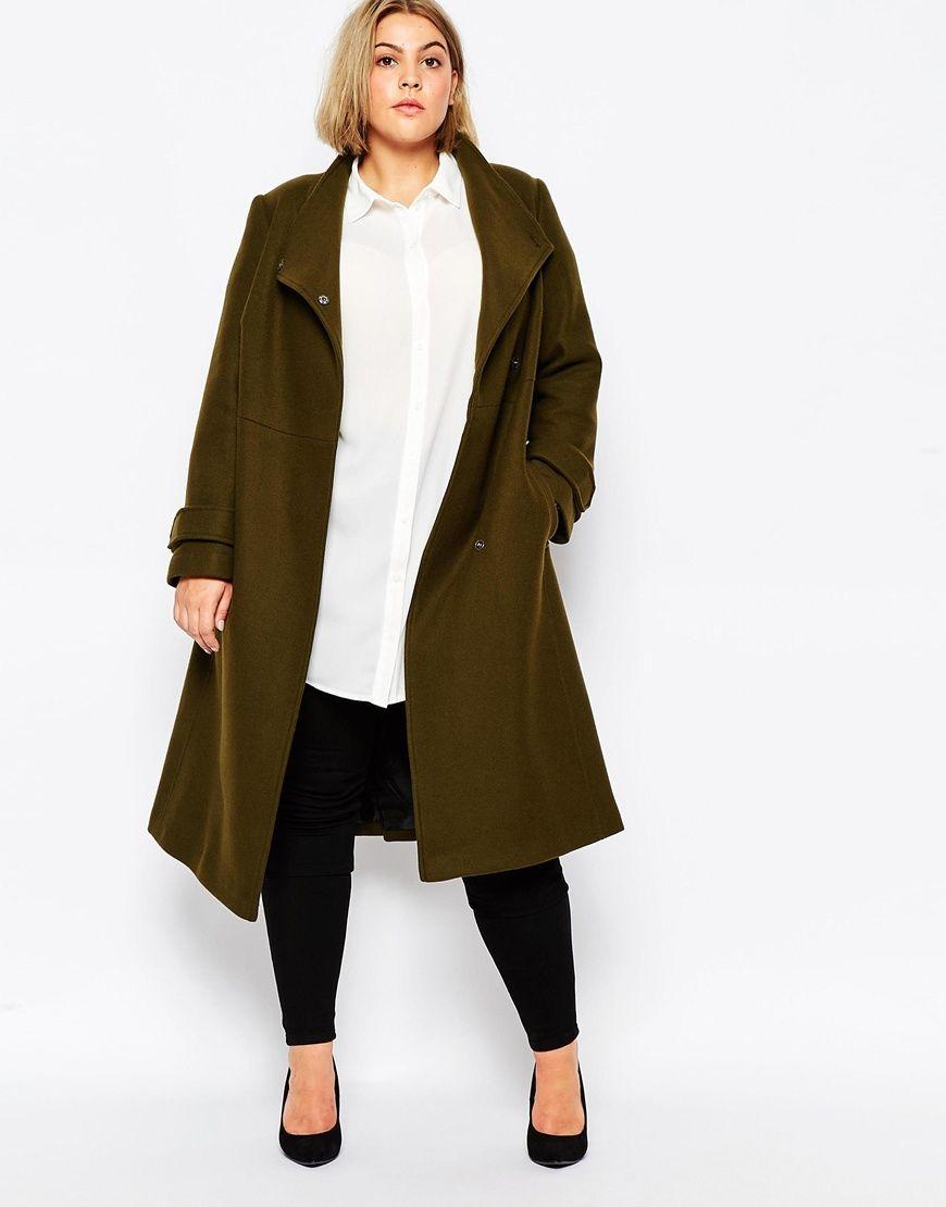 601292ad68789 Plus Size Outfits · ASOS CURVE • Funnel Neck Coat