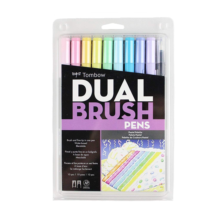 Tombow Dual Brush Pen Art Markers Pastel 10 Pack