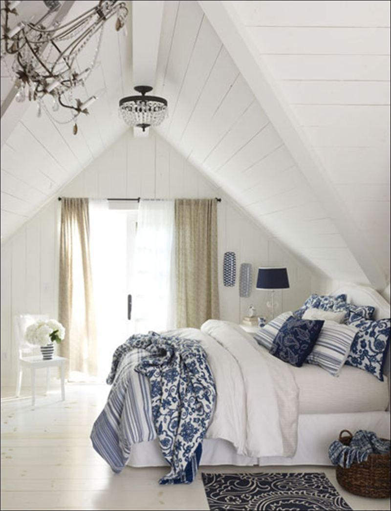 blue and white decor attic bedroom blue