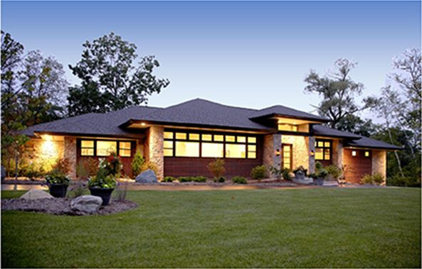 Contemporary prairie style home prairie style home for Low pitch roof house plans