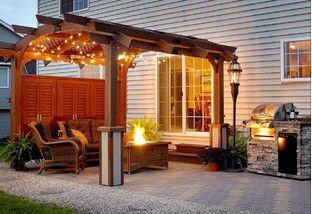 This looks affordable and eliminates that no-porch flat look.