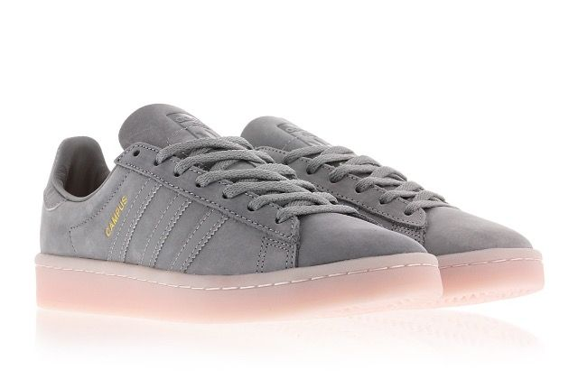 Adidas Campus Shoes: Grey + Icey Pink
