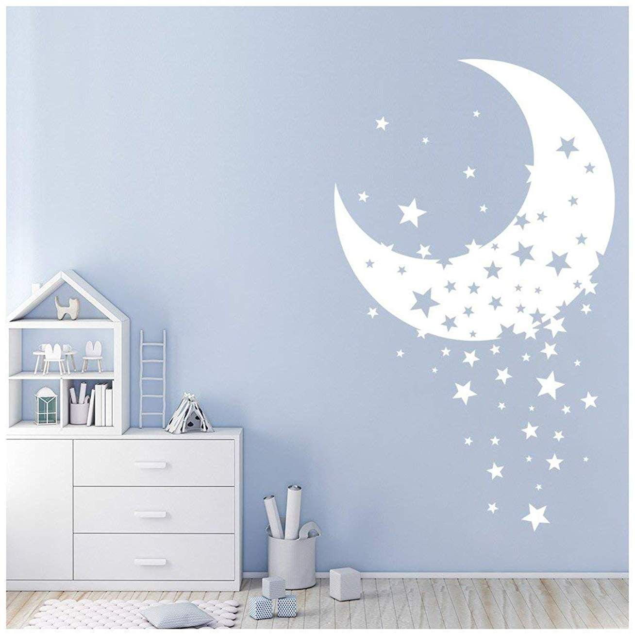 Azutura Etoile Scintillante Sticker Muraux Lune Autocollant Mural