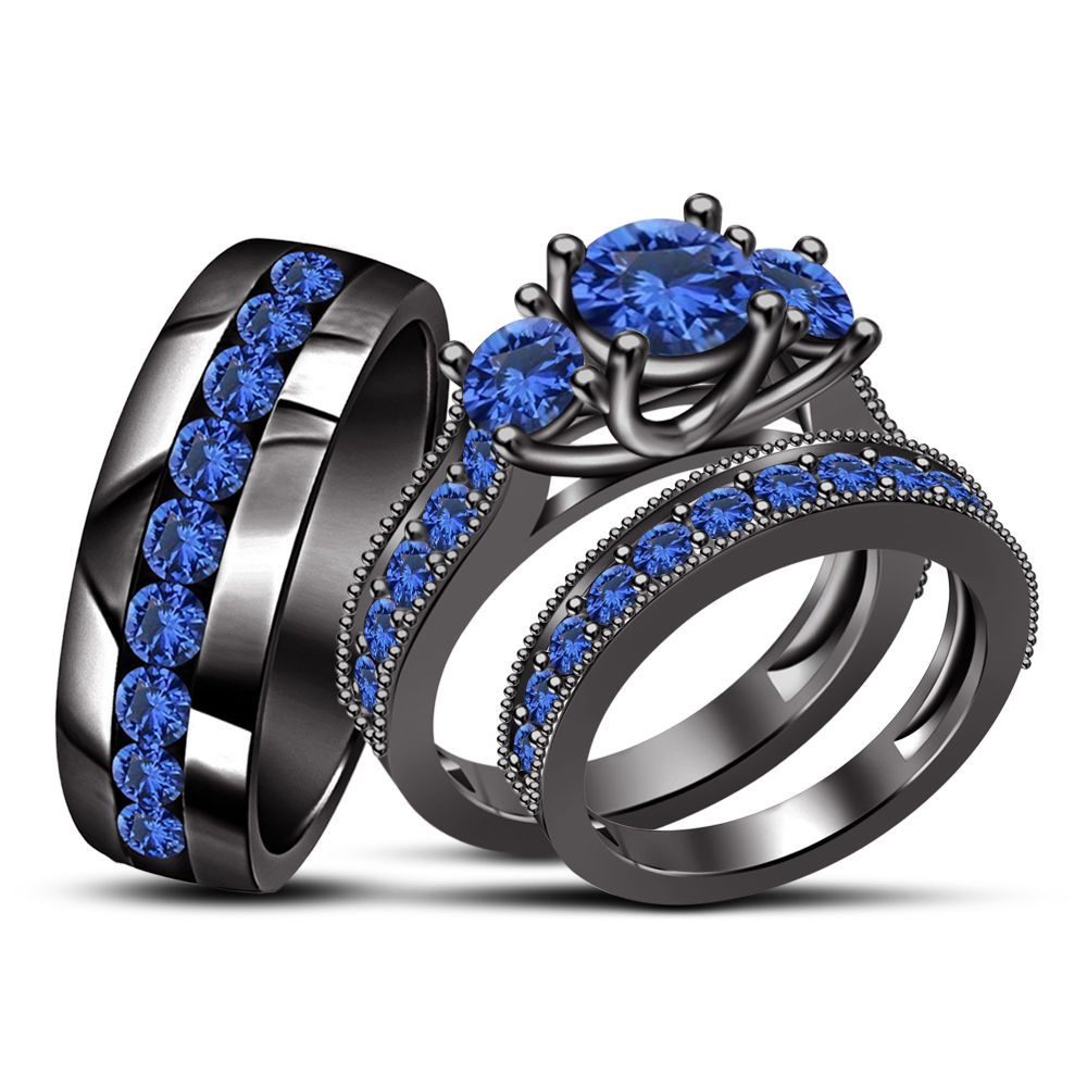 Mens Womens Blue Sapphire Trio Wedding Ring Band Set Solid 18K White Gold Over