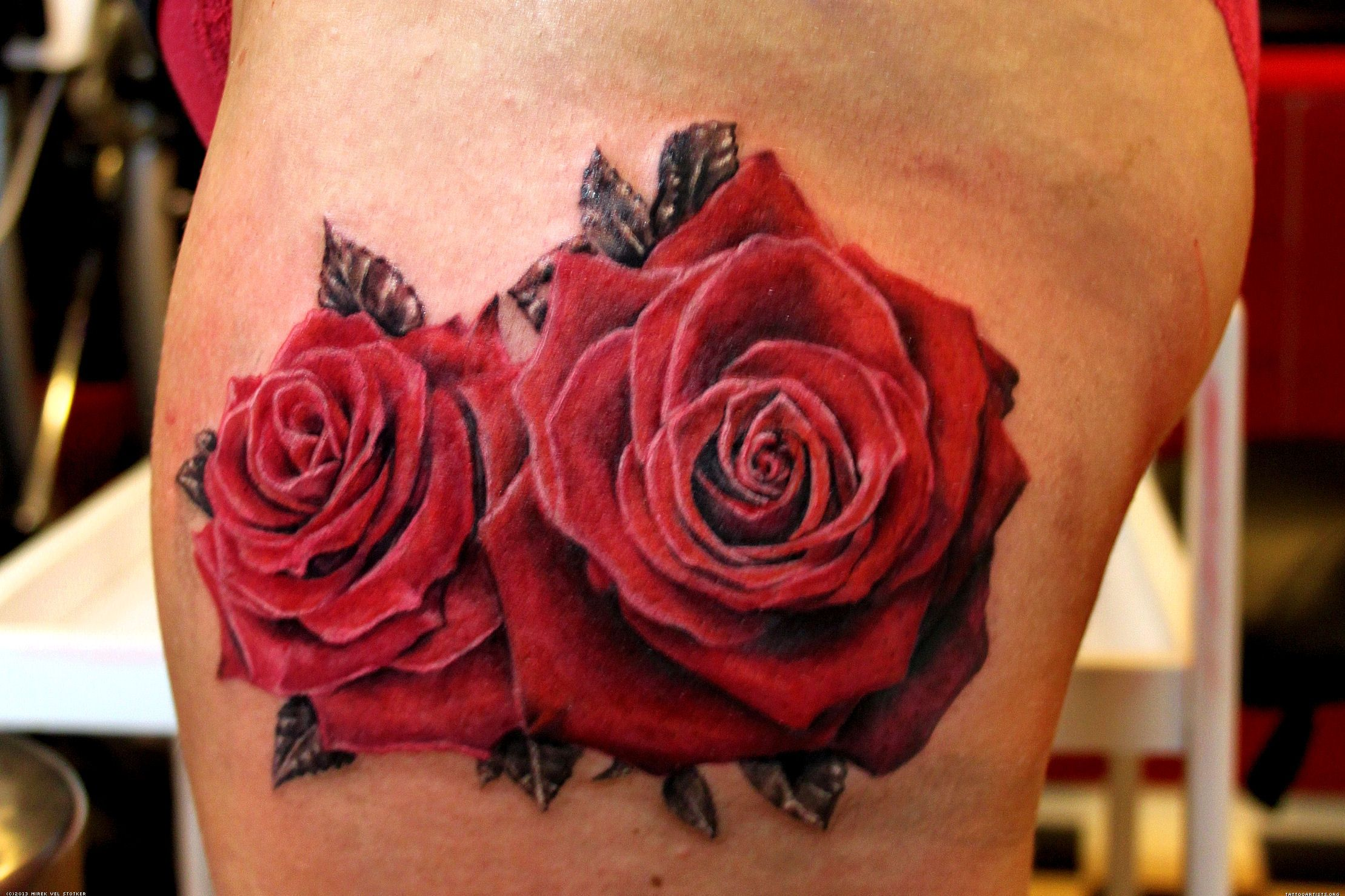 Rose Tattoos Flower: Two Roses Flower Tattoo Design Ideas