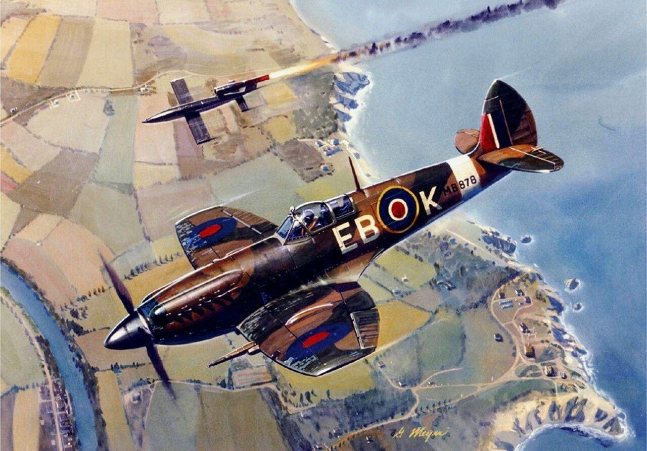 Spitfire Mk.XII intercepting a V-1 Flying Bomb