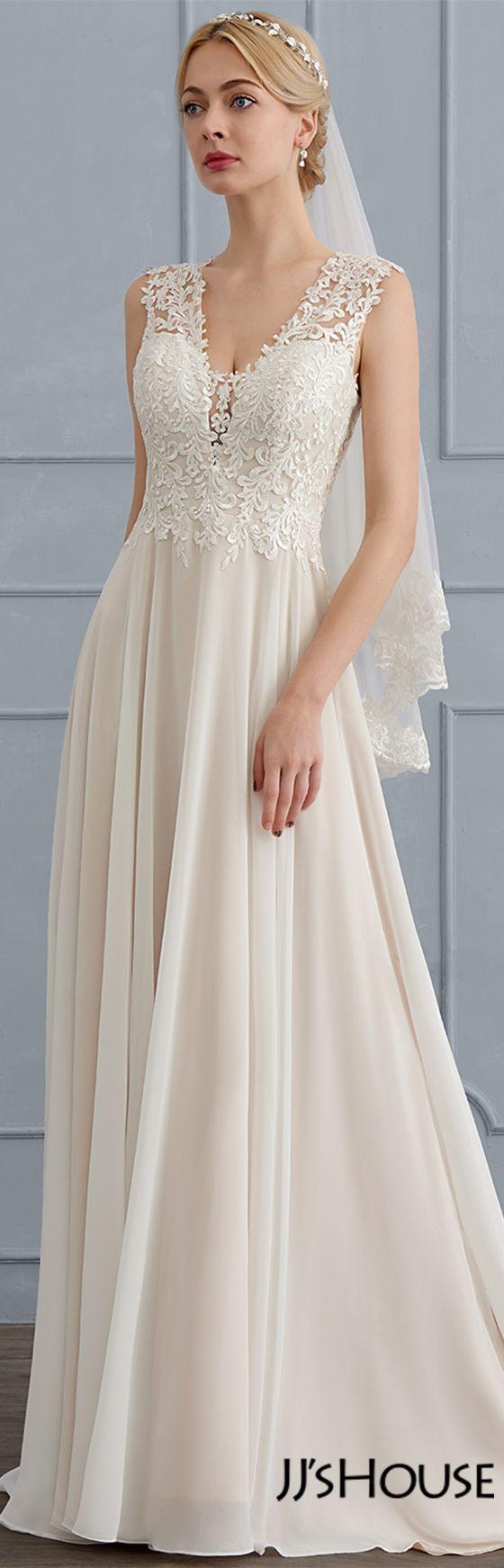 A Line Princess V Neck Sweep Train Chiffon Wedding Dress 002124277