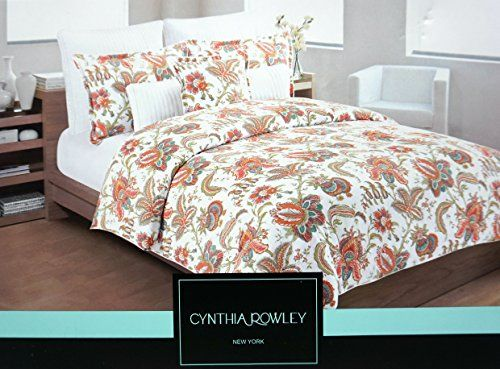 Cynthia Rowley 3 Piece Duvet Cover Set English Garden Jacobean Floral Elizabeth Luxury Cotton Sateen In King Or Full Q Duvet Cover Sets Duvet Covers Queen Size
