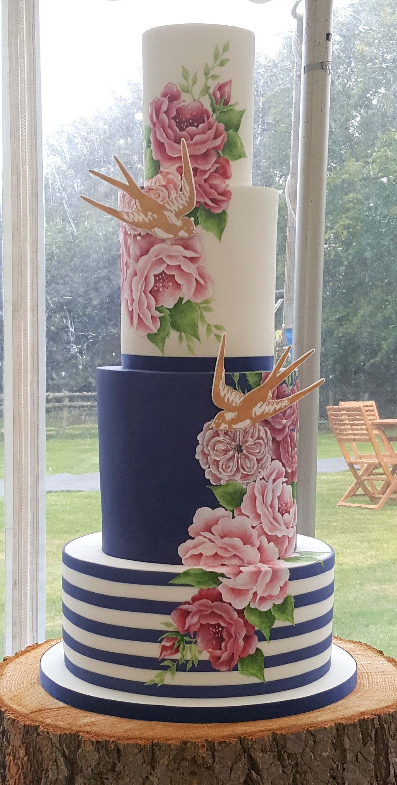 Blue, White, Gold Cake With Pink Roses |Pink And Blue Wedding Cakes