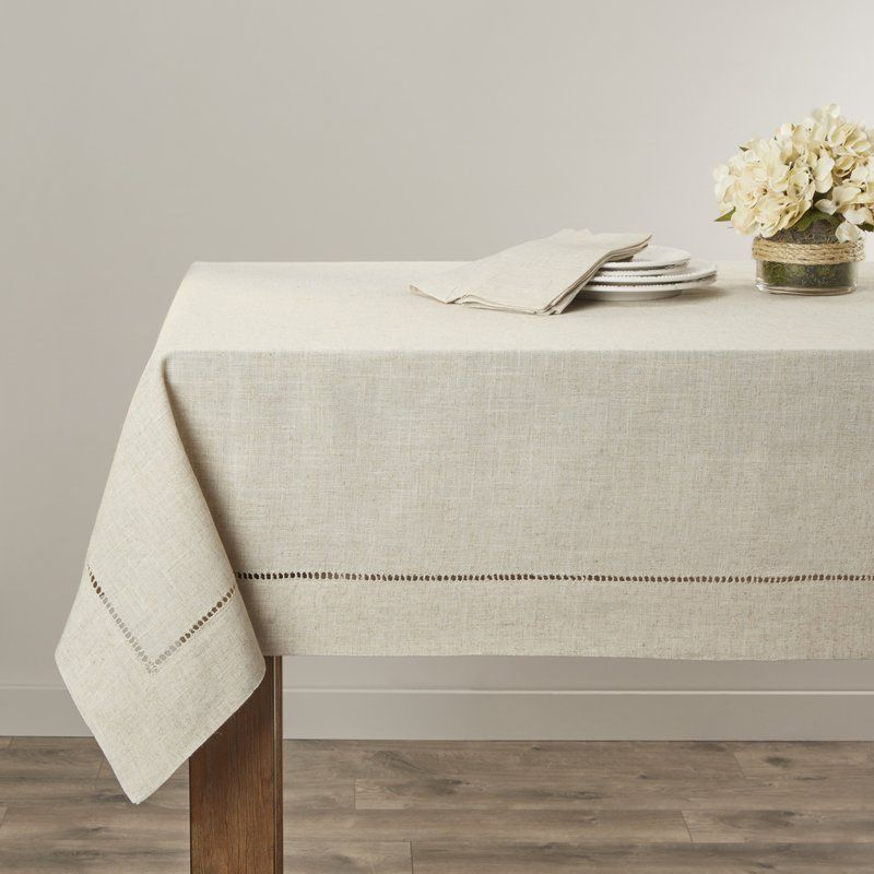 Kitt Hemstitched Tablecloth Table Linens Oblong Tablecloth Decor