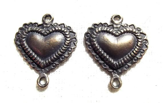 Heart Link Set of (6) Jewelry Rosary Supply Part
